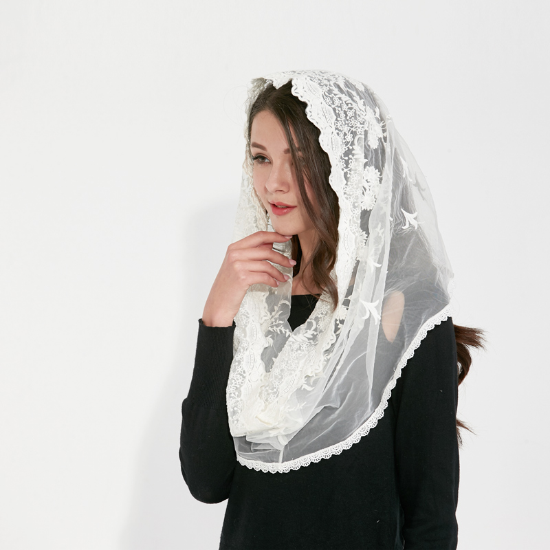 Couverture white black Catholic Head Scarf women Kerchief Chapel lace Church Veil Wedding bride Mantilla Latin Veils for Mass in Women 39 s Scarves from Apparel Accessories