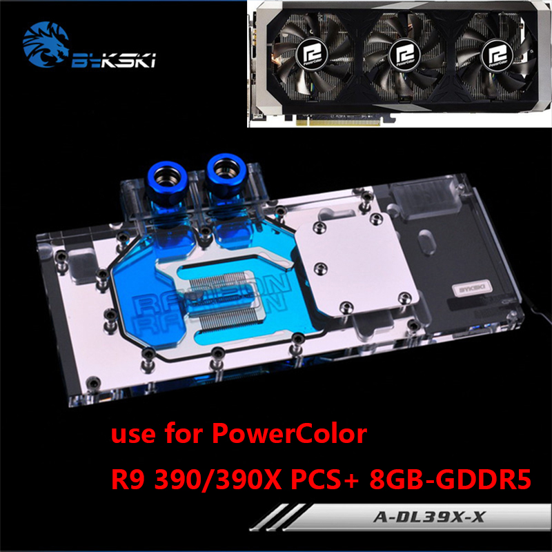 BYKSKI Full Cover Graphics Card Water Cooling Block use for PowerColor Radeon R9 390/390X PCS+ 8G DDR5 GPU Radiator Block RGB gpu water block cooling video graphics card micro channel fast water cooling cooler radiator for 43x43mm 53x53mm hole distance