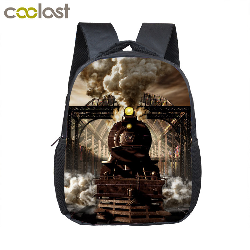 Locomotive Steam Train Kindergarten Backpack 12 Inch Kids School Bags Mini Mochila Preschool Backpack For Children Book Bag