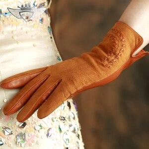 Image 4 - KLSS Merk Echt Leer Vrouwen Handschoenen Hoge Kwaliteit Geitenleer Handschoenen Herfst Winter Elegante Schapenvacht Handschoenen Vrouwelijke 2303