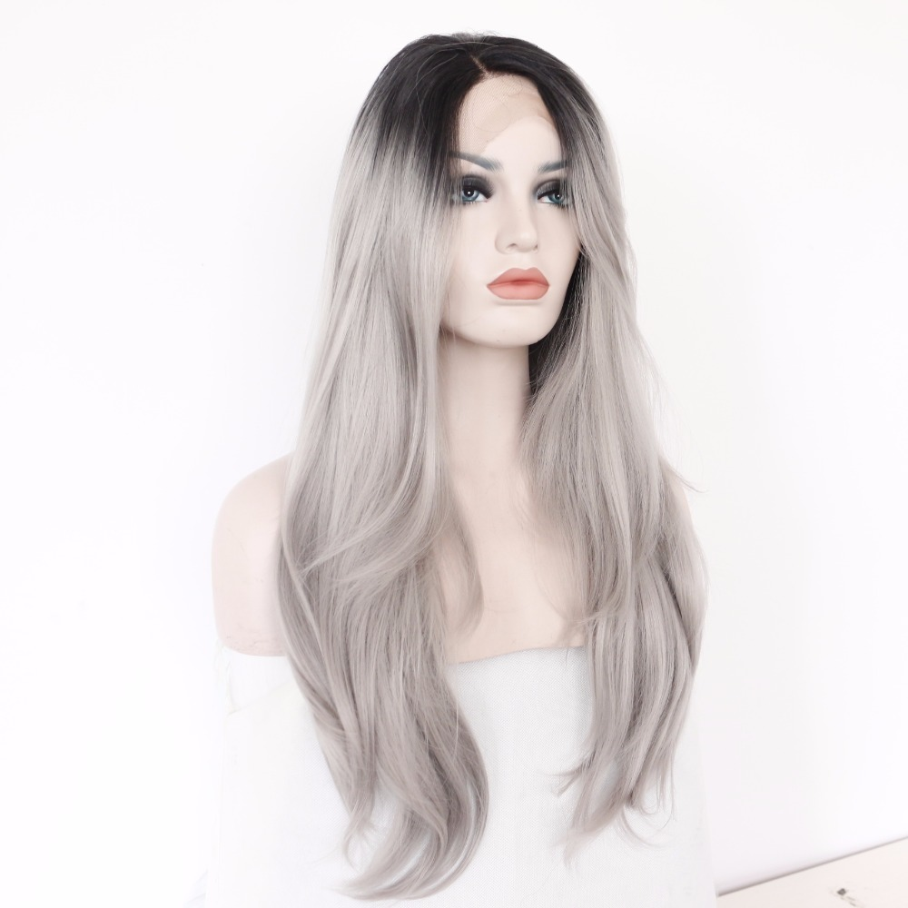 BeautyTown Handmade Black Grey Heat Resistant Synthetic Wig for Women