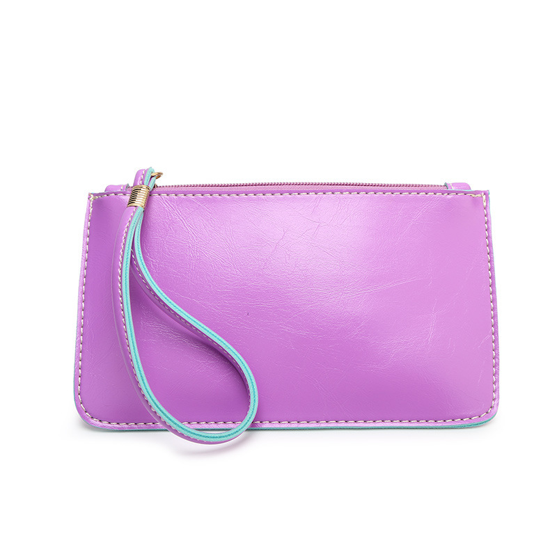 2019 New Handbag Mobile Phone Bag Spring Summer Simple Style Zipper Oil Wax Pu Leather Ladies Daily Wallet in Clutches from Luggage Bags