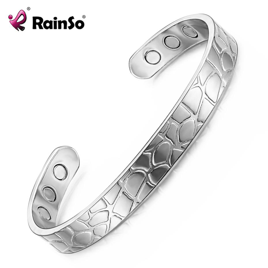 RainSo High Quality Silver Color Copper Bangles for Women Healing bracelets Magnetotherapy Bio Energy Jewelry for Arthritis 144