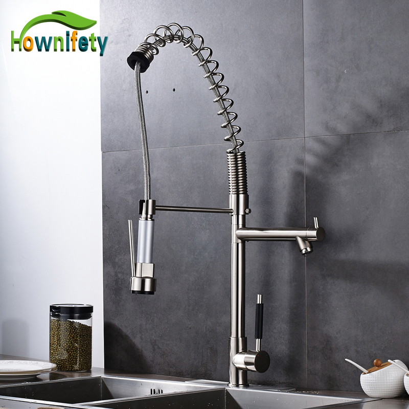 Contemporaray Solid Brass Nickel Brushed Kitchen Sink Faucet Single Lever Countertop Pull Out Mixer Tap with Cover Plate nickel brushed deck mounted kitchen sink faucet 360 degree rotation pull out mixer tap with cover plate