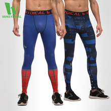 Men Pro Indy Compression Leggings Skinny Dri FIT Workout font b Pants b font Hero Printed