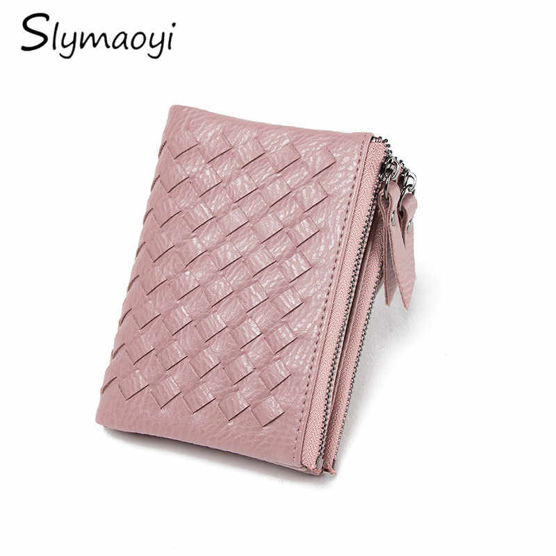 Slymaoyi Double Zipper Women Wallets Two Fold Weave Short Clutch Wallet Fashion Soft PU Leather Coin Purse Card Holder