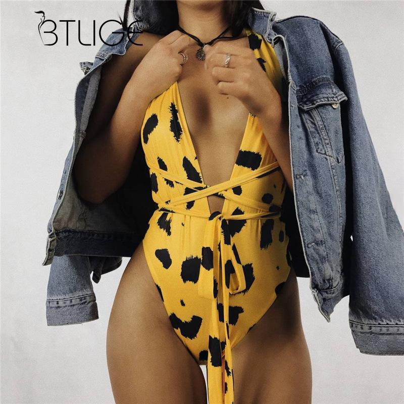 BTLIGE Leopard Bodysuit Female Deep V-Neck Sexy Swimwear Women Print Yellow Bathing Suit Bikinis 2018 Lace Up One Piece Swimsuit chic v neck flare sleeve lace up tiny star print dress for women