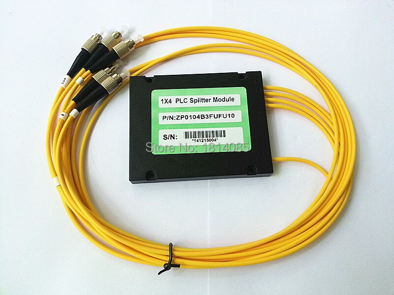 3.0mm 1x4 ABS Box Module Type FC/UPC Connector Fiber Optical PLC Splitter