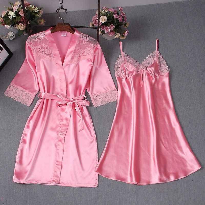 セクシーな女性ローブ & ガウンセット 2 個浴衣 + ミニナイトドレスパジャマレースシルク女性の睡眠スーツサテンウエディングローブナイトウェア