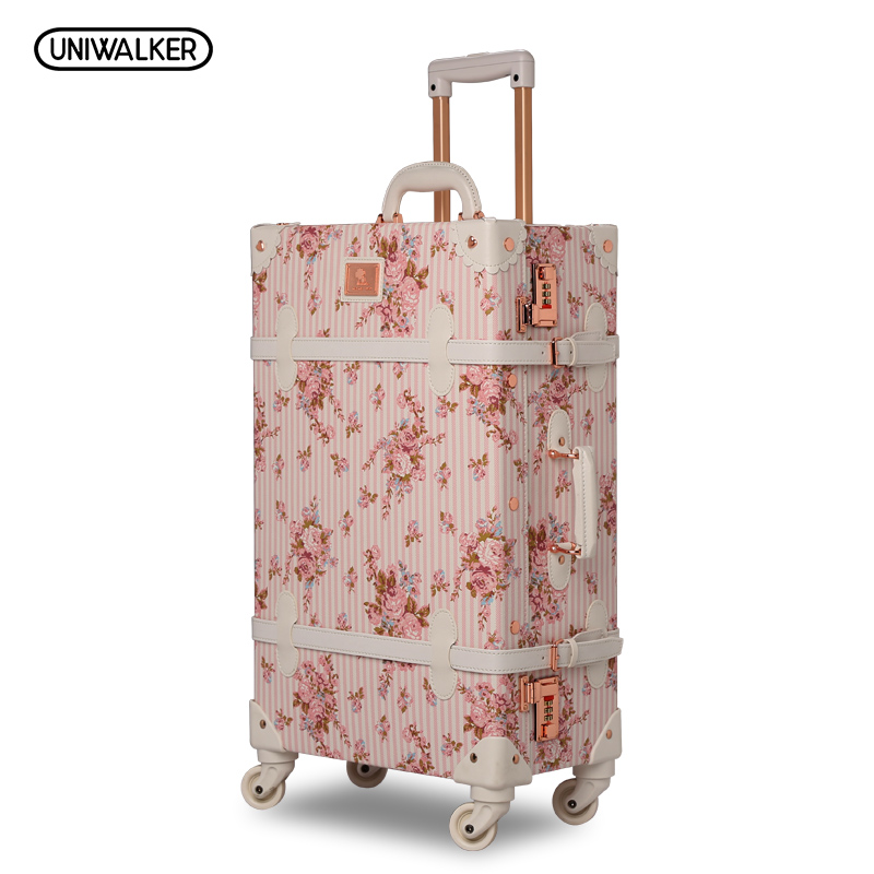 13 20 22 24 26 2PCS/SET Women Retro Floral Trolley Luggage Suitcase, Girl Pink Vintage Travel Luggage Suitcases коньки maxcity caribo combo girl 26 29 pink