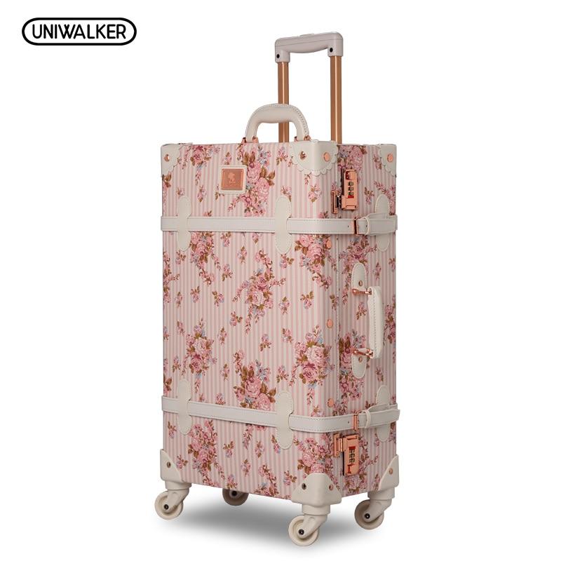 UNIWALKER 13 20 22 24 26 2PCS/SET Women Retro Floral Trolley Luggage Suitcase, Girl Pink Vintage Travel Luggage Suitcases