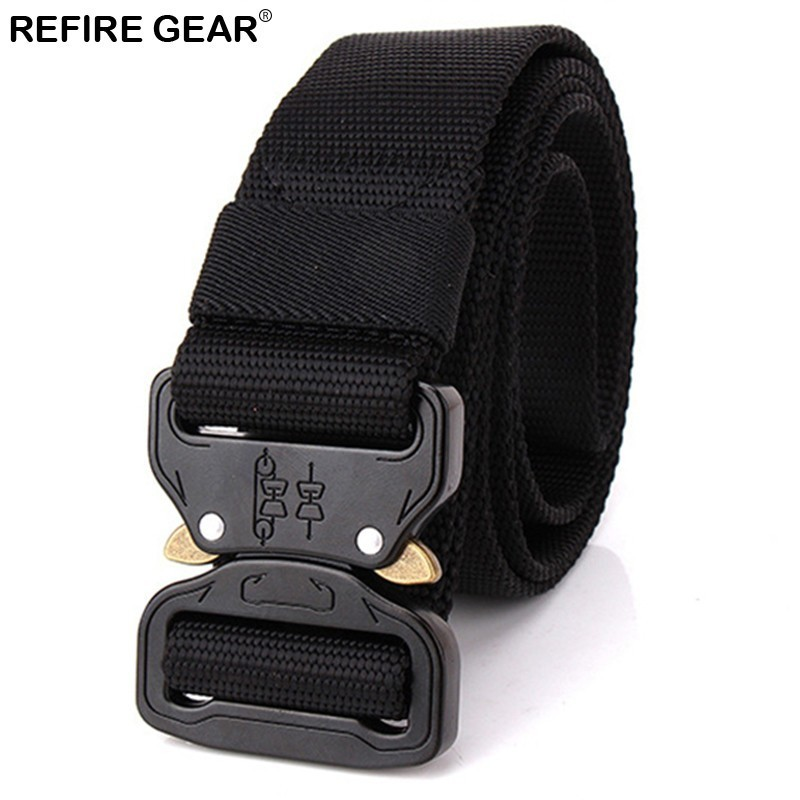 Refire Gear Outdoor Sports Thicken Tactical Nylon Belts Men Metal Buckle Belt Man Molle Combat Armywaist Belt 3.8cm