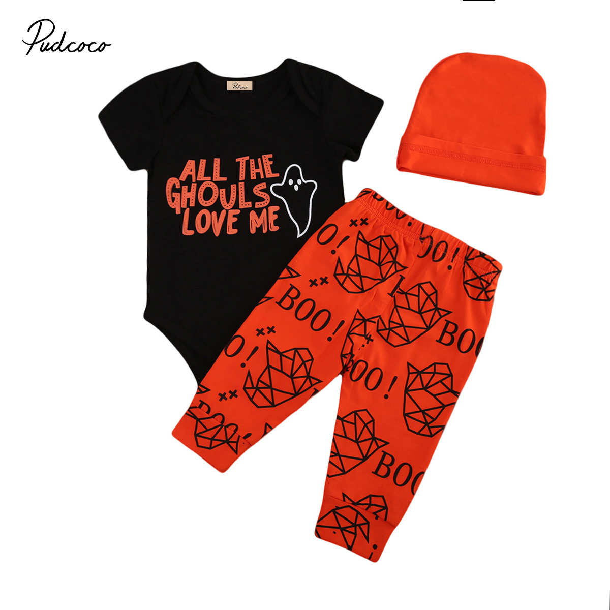 2017 Halloween Toddler Baby Boy Girl Costume Short Sleeve Romper Jumpsuit Long Pants Outfits Set Letter Print Pattern Clothes
