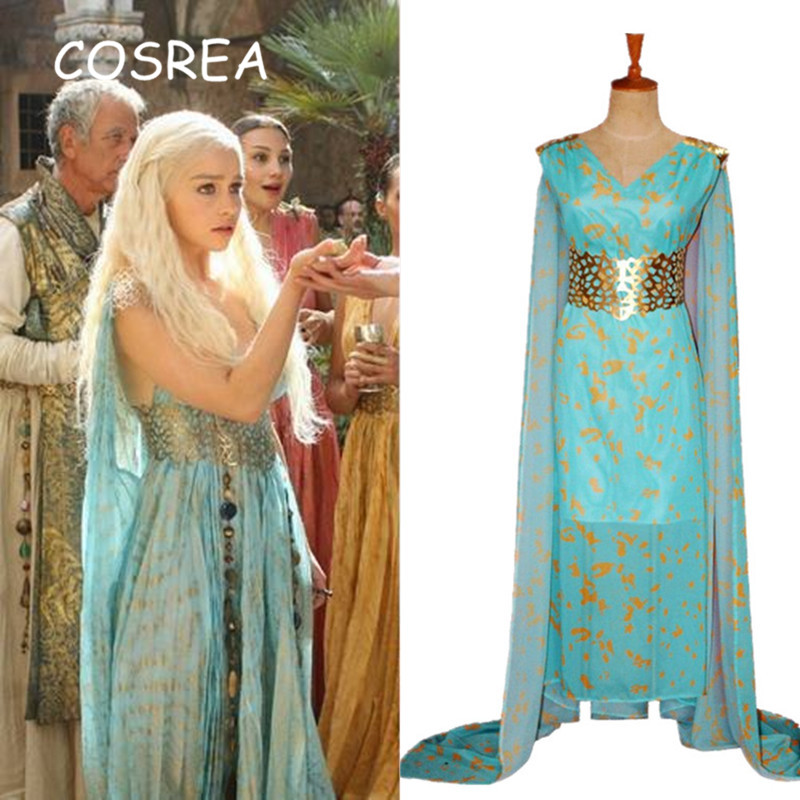 Game of Thrones Daenerys Targaryen Beautiful Dresses Sets Cosplay Costume Long Halloween Party Dress Ball Gowns for Women Girls