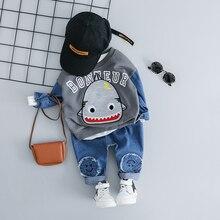 طفل الأطفال الصبي الملابس الدنيم مجموعة لطيف الكرتون القرش طباعة بلوزات و الجينز 2 قطعة 2019 موضة طفل الفتيان الملابس 1 2 3 4 سنوات
