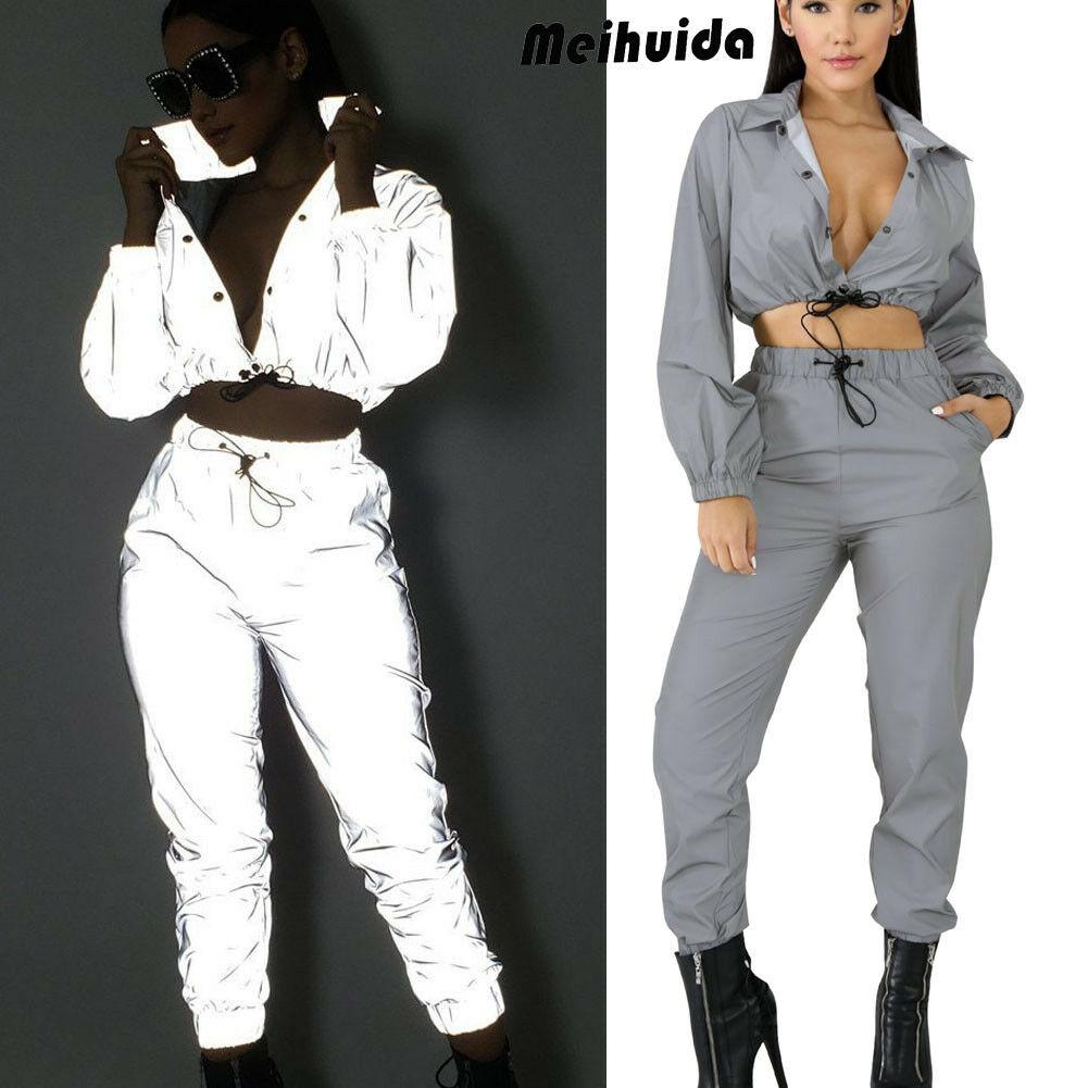 2pcs Fashion Women Long Sleeve Spliced Bodycon Jumpsuit Casual Sporty Clubwear