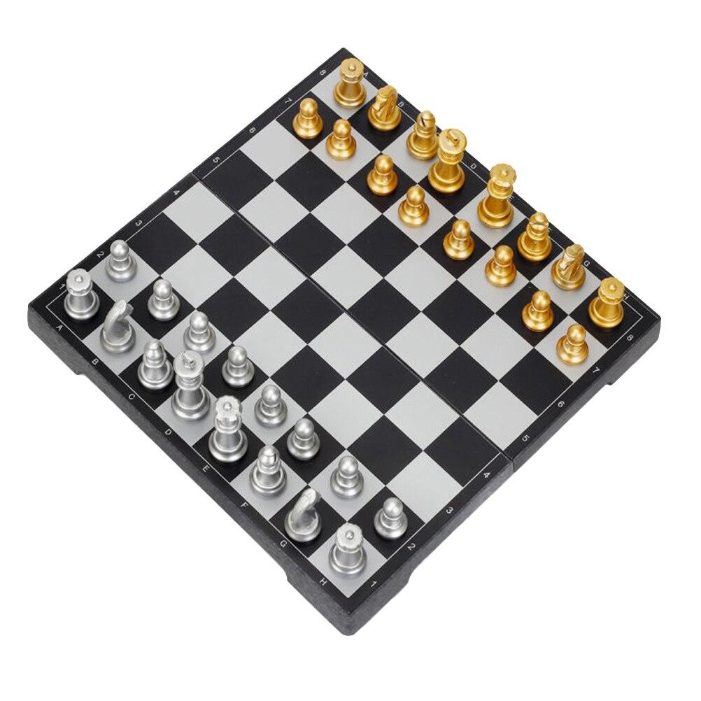 1 jeu d'échecs fin Portable en plastique Puzzle pliant magnétique jouet éducatif jeu d'échecs jeu de société (or et argent)