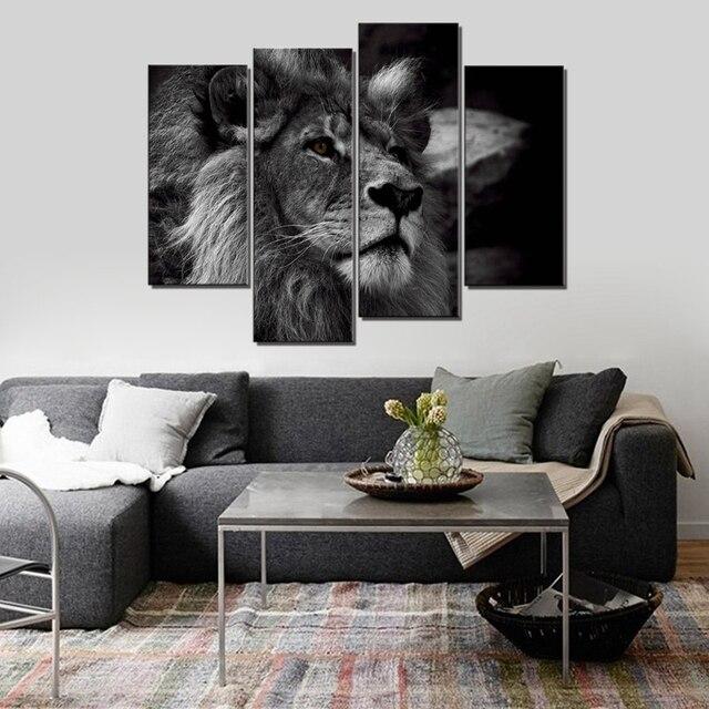 Noir et blanc zèbre mur Art toile impression cerf Lion paon Animal ...