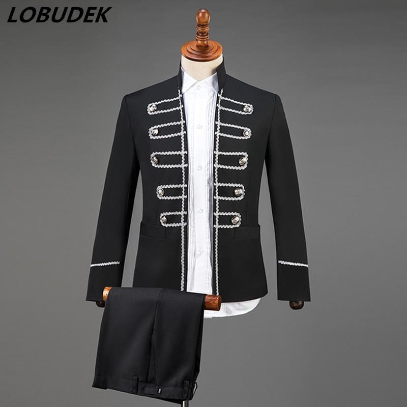 (Jacket+pants) Vintage Men's Suits Court Dress Host Singer Stage Performance Costumes Chorus Black Double-breasted Blazer Suit