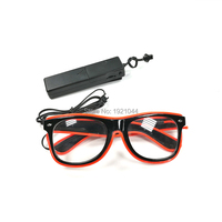 10Color Select 100PCS EL Wire Blinking Glasses+3V Voice Control Inverter light Up Flashing LED Sunglasses Party DIY Product