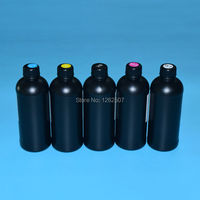 500ml BK C M Y W Flatbed UV Curable ink For Epson R1900 R2000 1390 4880 LED UV Rigid Ink Printing with wood glass ceramics metel