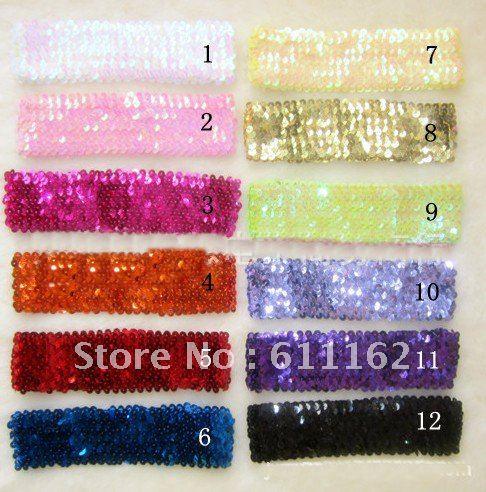Около 19 см(5 ряд) блесток Банданы для мужчин Разноцветные ребенок Банданы для мужчин для девочки стрейч блесток заставку горячие продажи Разноцветные