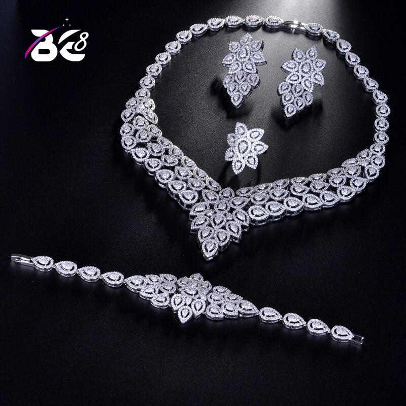 Be 8 breloque Dubai ensembles de bijoux mariage nigérian perles africaines ensemble de bijoux de mariée en cristal Parure de bijoux éthiopien 4 pièces S175