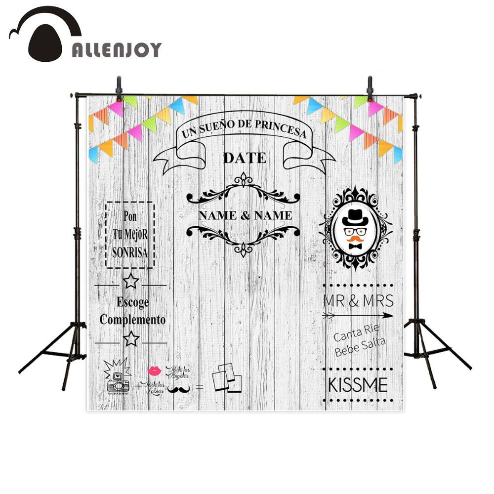 Allenjoy backdrop for photographic studio white wood wedding birthday baby shower customize background original design photocall