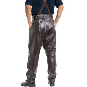 Image 2 - Bruin Heren Luxe Koeienhuid Broek Plus Size Losse Echt Echt Lederen Broek Man Ritsen Motorrijden Broek Winter Warm