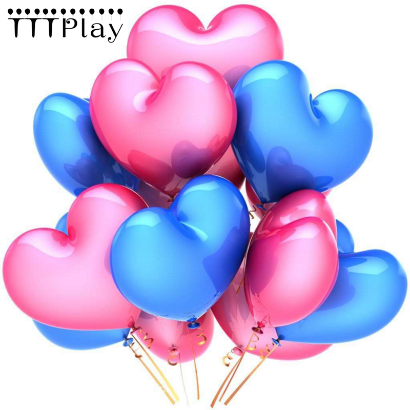 10pcs/lot Romantic 2.2g Blue Love Heart Latex Balloons Inflatable Wedding Decoration Party Balloon Valentines Day Party Supplies