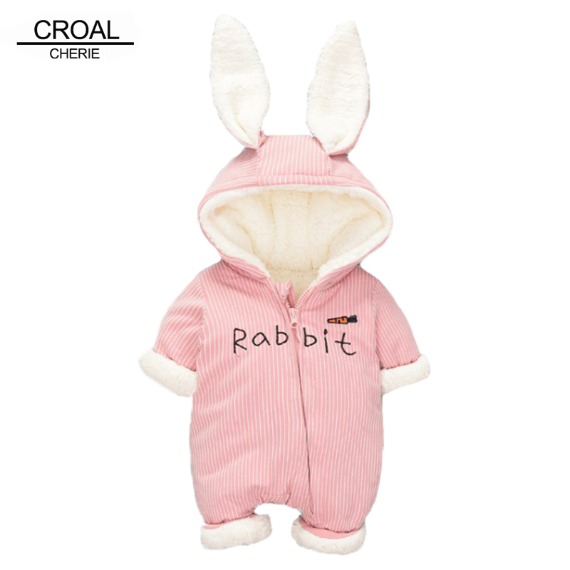 CROAL CHERIE 60-90cm Newborn Baby Clothes Cute Rabbit Ear Winter   Romper   For Baby Girls Striped Warm Thicken Clothing