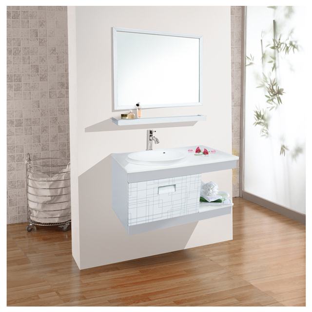 Aluminium Made Bathroom Cabinet Under Basin With Large Mirror And Storage Shelf