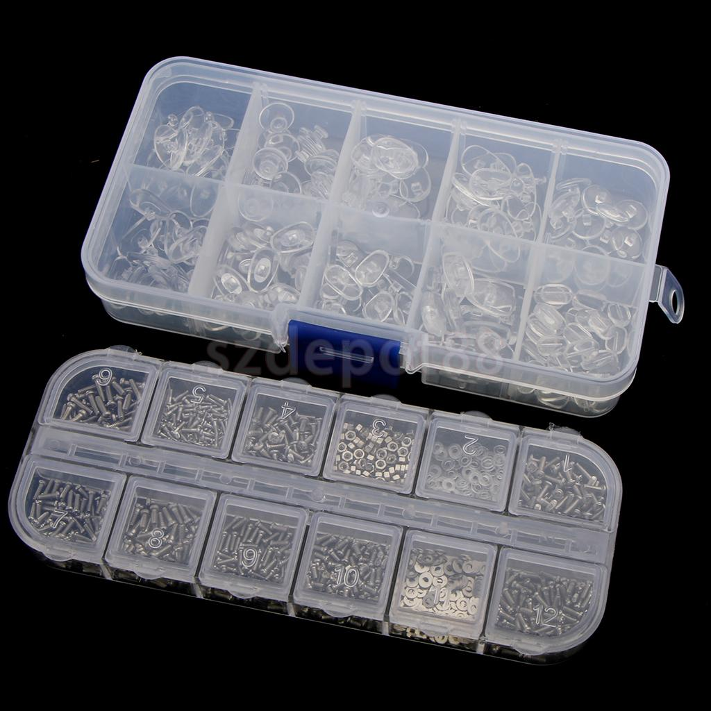 15pcs Eyeglass Repair Kit - 1 Box Screw Nut + 1 Box Nose Pads + 6pcs Screwdrivers + 7pcs Pliers + 1pcs Storage Holder Bag