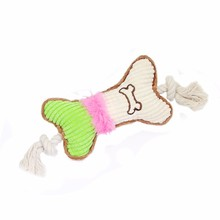 Corduroy chewing squeaky toys cotton rope toy dog bone shaped dog durable pet toy squeak
