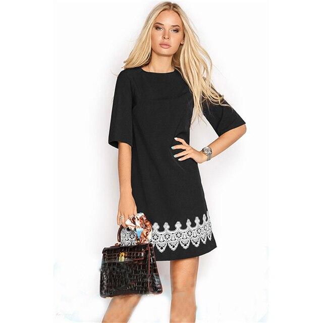 Summer Dress Women Fashion Casual Mini Lace Dress Black White Short Sleeve O-Neck Beach T Shirt Dresses Plus Size