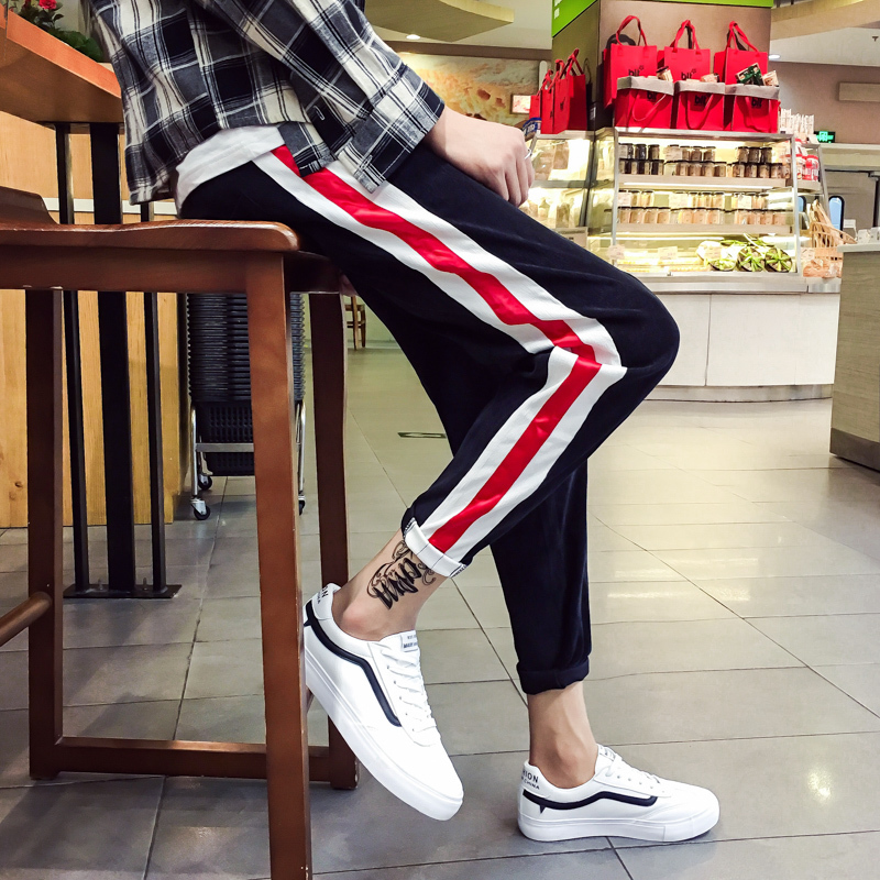 2017 Autumn Male Corduroy Fabric Haren Casual Work Cargo Pants Cotton Mens Trousers Active Elastic Hip Hop Slim Homme Pantalon
