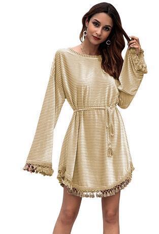 Smmoloa Tassele Velvet Dress Long Sleeve Sexy Dress Autumn Women Dresses Vestido mujer