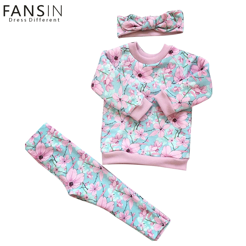 Fansin Brand Winter Baby Girl Clothing Set For Girls Suit Children Long Sleeve Sweater+Pants+Headdrss Blouse Autumn Kids Clothes autumn winter girls children sets clothing long sleeve o neck pullover cartoon dog sweater short pant suit sets for cute girls