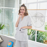 New Product Vertical Bar Cardigan Chalaza Kitten Pattern 2 Set Home Furnishing Serve Woman Match Pocket