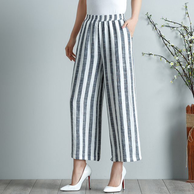 b36ef0f9d7187 Wide leg pants for women plus size cotton linen capris casual striped  elastic waist trousers high