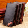 Black England Style Slim Men Long Wallet Men's pu Leather Bifold Cards Holder thin Purse Wallet Handbag Clutch 2016 business ol
