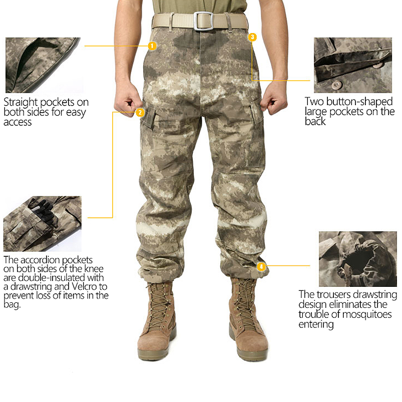 MENS TACTICAL OVERALLS CAMO PANTS MILITARY SECURITY CARGO COMBAT TROUSERS
