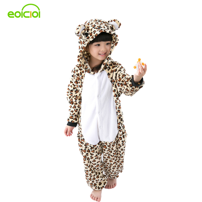 Flannel Animal Cartoon Pajama Onesie Baby Pajamas warm animal Kids Girls Boys leopard Children Sleepwear Onesies Nightwear цена