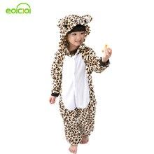Flanelle Animal de Bande Dessinée Pyjama Onesie Bébé Pyjamas chaud animal Enfants Filles Garçons léopard Enfants de Nuit Onesies De Nuit