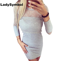 LadySymbol New Autumn Sexy Bodycon Dress Women Slim Gray Casual Lace Dress Long Sleeve Winter Knitted