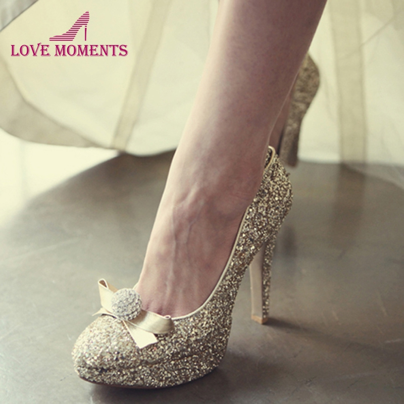 Evening and Wedding Shoes for Women Luxury Gold Rhinestone Round Toe Bridal Heels Prom Dress Shoes Glitter Bride High Heels