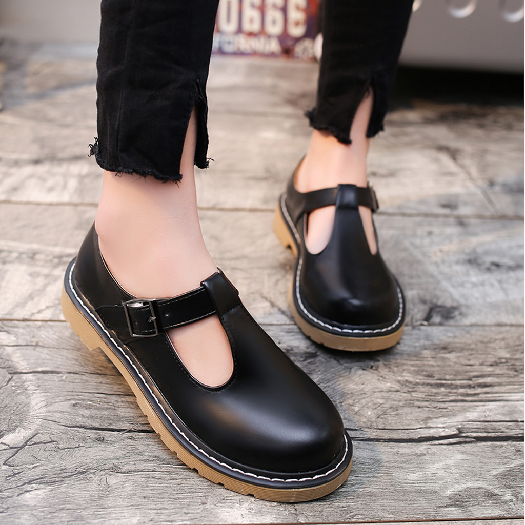 Shoes Low-Heeled Womens Round-Toe Retro New-Fashion Casual Buckle