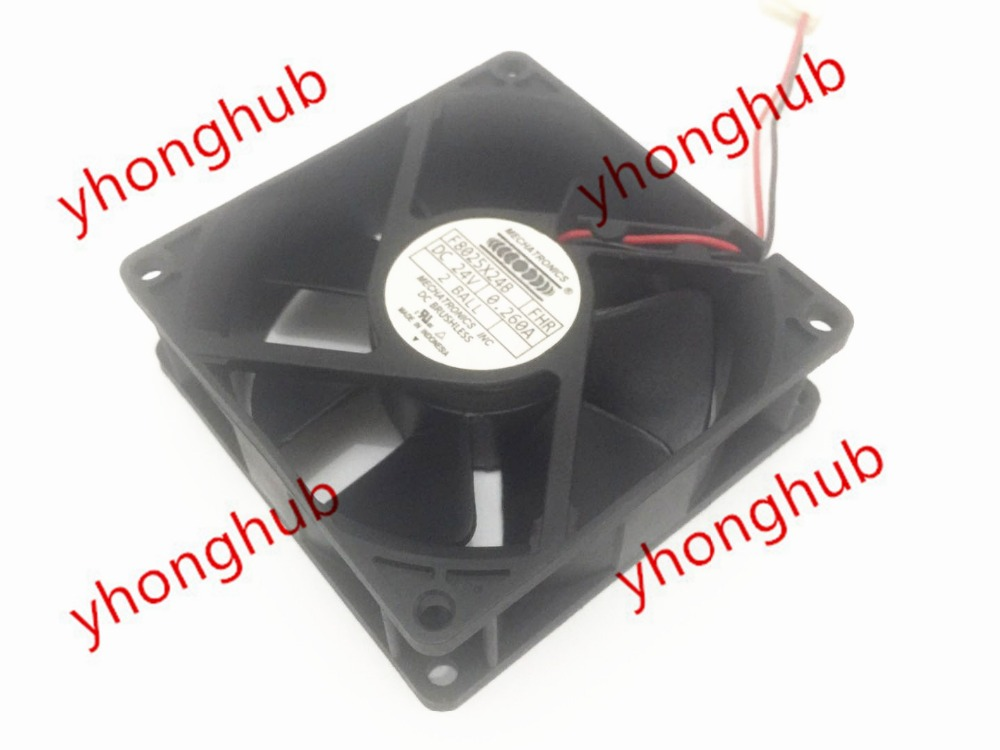 Emacro For MECHATRONICS F8025X24B DC 24V 0.260A 80x80x25mm 2-wire Server Square Fan free shipping emacro young lin dfs701512m dc 12v 2 8a 2 wire 2 pin connector 100mm 70x70x15mm server square cooling fan