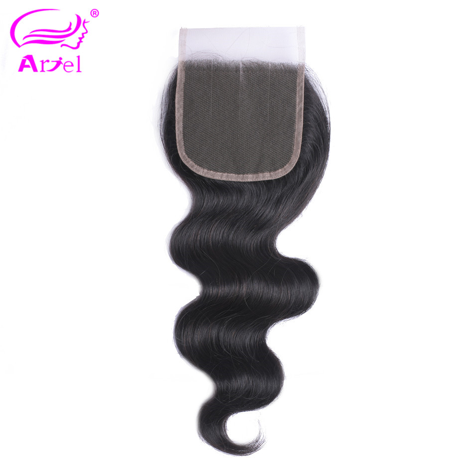 Ariel Hair Peruvian Hair Body Wave 4*4 Lace Closure 100% Human Hair Natural Color Non Remy Hair Free/Middle/Three Part Closure