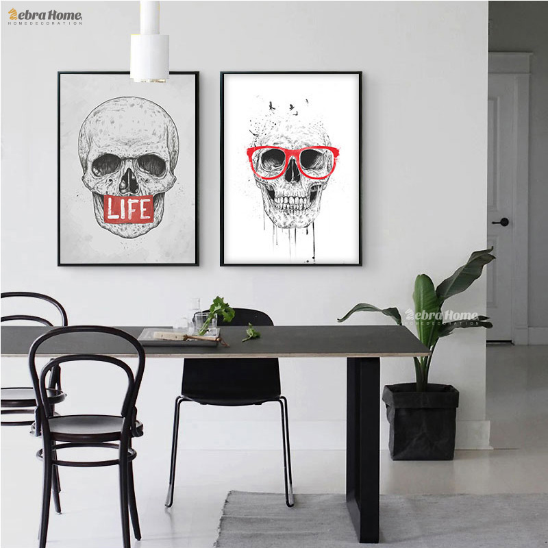 Hand Painted Modern Skeleton Oil Painting Hiasan Picture Abstract Skull Painting On Canvas For Living Room Decor Wall